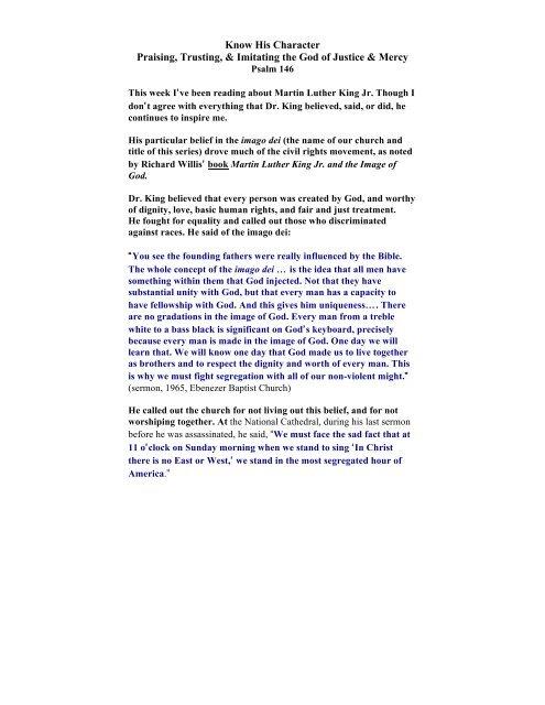 Download the sermon notes - Imago Dei Church