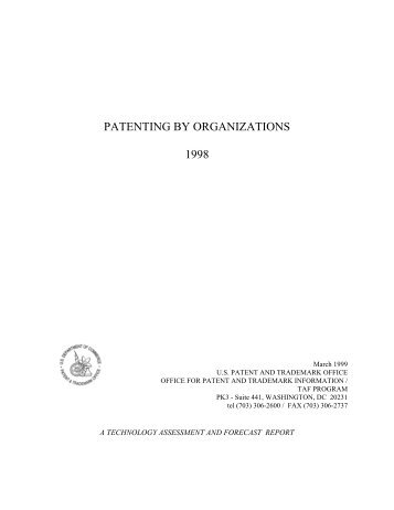 Patenting By Organizations Report, 1998 - United States Patent and ...