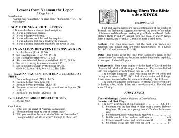 Lessons from Naaman the Leper Walking Thru The Bible 1 & 2 KINGS