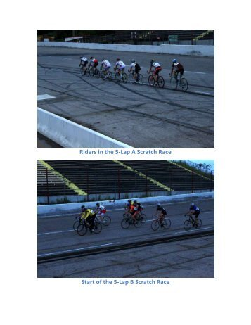 Riders in the 5-Lap A Scratch Race Start of the 5-Lap B Scratch Race