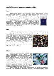 Proč třídit odpad a co se s odpadem děje..