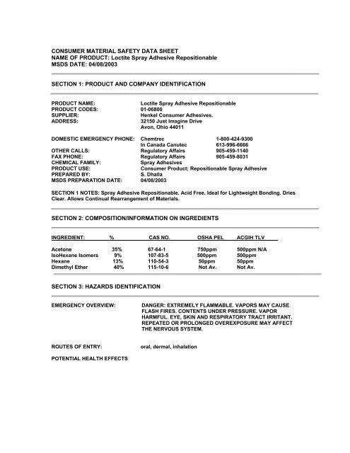 Loctite (Blair) Spray Adhesive pdf