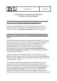 FAQ 06-04, rev.1 02.03.2012 Voraussetzungen für die ... - ZLS