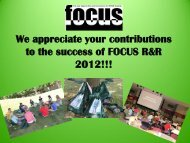 We appreciate your contributions to the success of FOCUS R&R ...