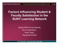 Factors Influencing Student & Faculty Satisfaction in the SUNY ...