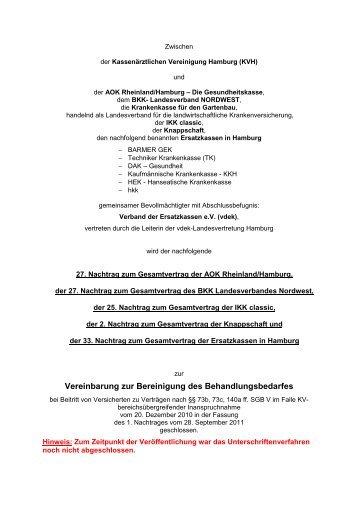 Vereinbarung zur Bereinigung des Behandlungsbedarfes