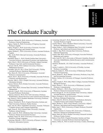 The Graduate Faculty - Catalog of Studies - University of Arkansas