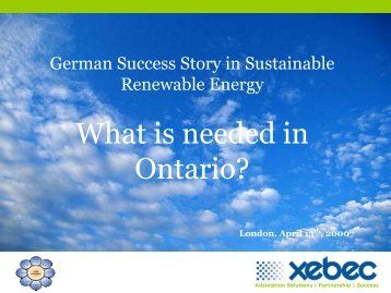 The German Success Story in Sustainable Renewable Energy