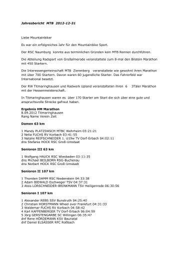 Jahresbericht MTB 2012-12-31 Liebe Mountainbiker ... - SportOn.de