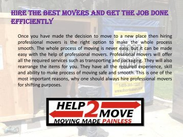 Hire the best movers and get the job done efficiently