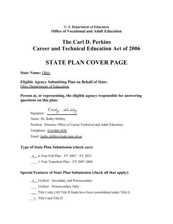state plan cover page - Perkins Collaborative Resource Network ...