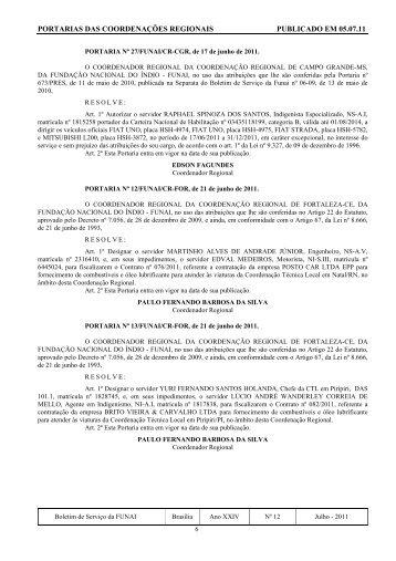 PORTARIAS DAS COORDENAÇÕES REGIONAIS ... - Funai