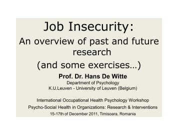 Job Insecurity: - Organizational and Occupational Health Psychology