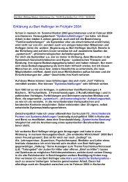 Erklärung zu Bert Hellinger im Frühjahr 2004 - Claro Karlsruhe