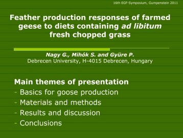 Feather production responses of farmed geese to diets containing ...