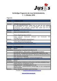 Programm Juso Herbstakademie 2010 - Jusos Bezirk Hannover
