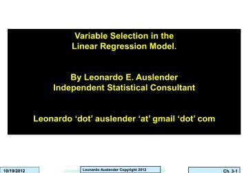 Dimension Reduction and Variable Selection - INFORMS NY