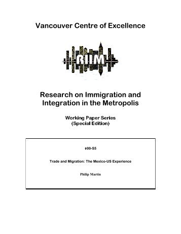 Trade and Migration: The Mexico-US Experience - Metropolis BC