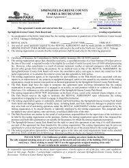 Rental Agreement - Springfield-Greene County Park Board