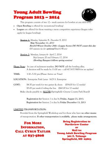 Young Adult Bowling Program 2013 - Springfield-Greene County ...