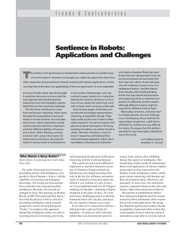 Sentience in robots - Applied Cognitive Science Laboratory