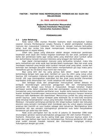faktor yang mempengaruhi - USU Library - Universitas Sumatera Utara