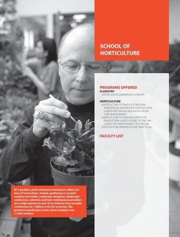 SCHOOL OF HORTICULTURE - Kwantlen Polytechnic University