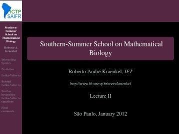 Southern-Summer School on Mathematical Biology - ictp – saifr