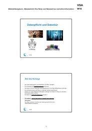 Datenpflicht und Datenkür - VSA