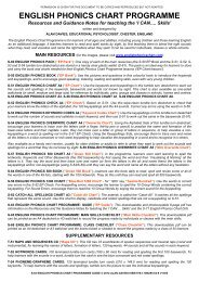 English Phonics Chart Programme Guide - THRASS