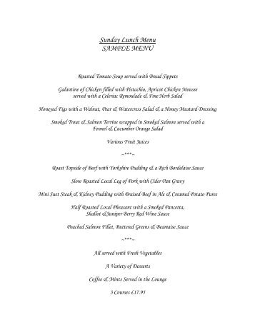 Sunday Lunch Menu - Abacus Hotels
