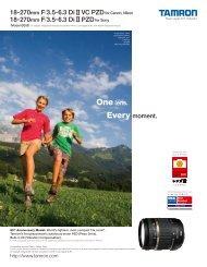 18-270mm F/3.5-6.3 Di II VC PZDfor Canon, Nikon 18 ... - Tamron