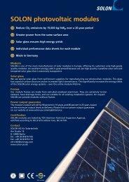SOLON photovoltaic modules - PyroSolar