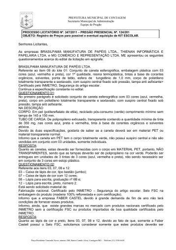 resposta questionamento e errata edital - Prefeitura de Contagem