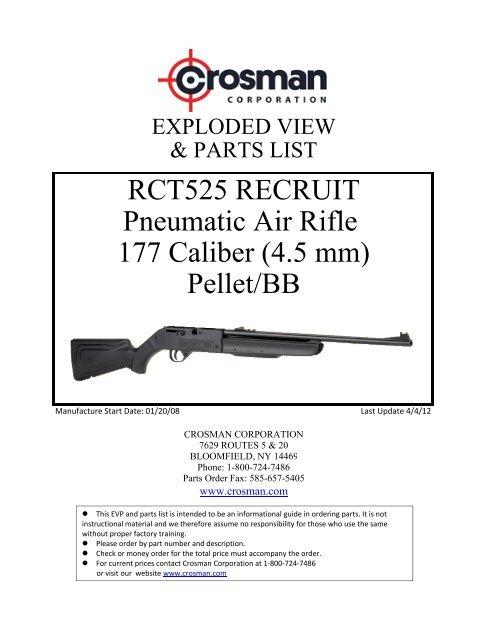 RCT525 RECRUIT Pneumatic Air Rifle 177 Caliber (4 5