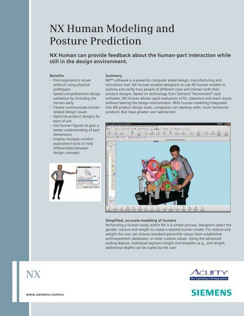 NX Human Modeling and Posture Prediction - Siemens PLM Software