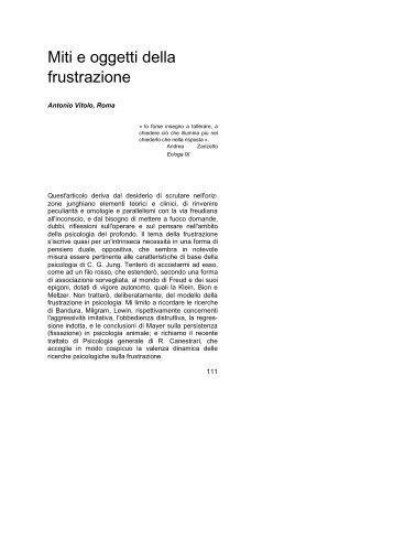 Miti e oggetti della frustrazione - Rivista di Psicologia Analitica