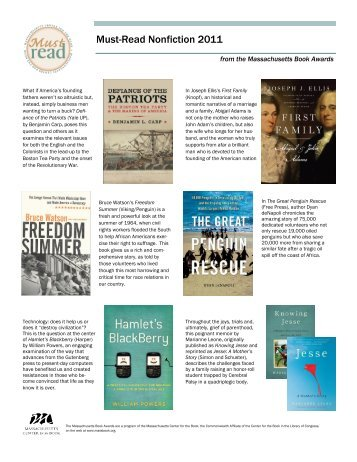 Must-Read Nonfiction 2011 - Massachusetts Center for the Book