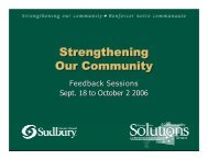 Strengthening Our Community - City of Greater Sudbury