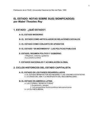 EL ESTADO: NOTAS SOBRE SU(S) SIGNIFICADO(S) - Catedras ...