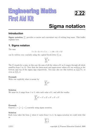 Worksheets Sigma Notation Worksheet worksheet 4 6 sigma notation 2 22 mathcentre