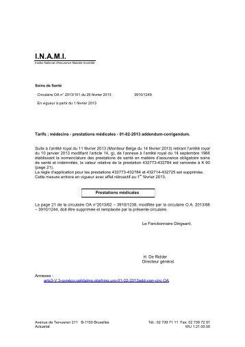 Tarifs des Médecins - A partir du 01/02/2013 - addendum ... - Inami
