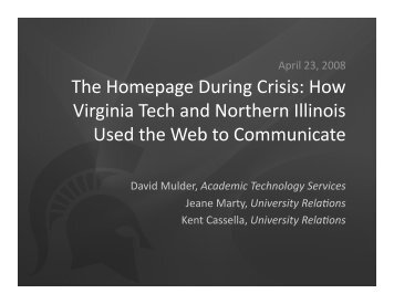 The Homepage During Crisis: How Virginia Tech and ... - IT Services