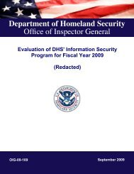 Evaluation of DHS' Information Security Program for Fiscal Year 2009