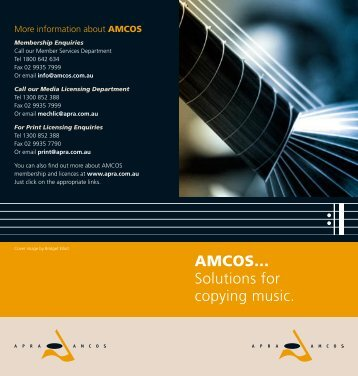 AMCOS... Solutions for copying music. - APRA