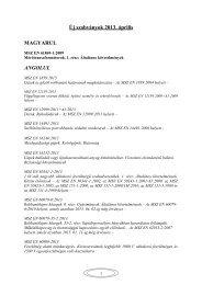 Új szabványok 2013. április
