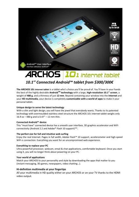 ARCHOS 101 internet tablet Spec sheet EN _2_ pdf - Ekab