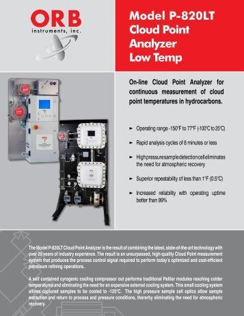 Model P-820LT Cloud Point Analyzer Low Temp - OrbInstruments.com