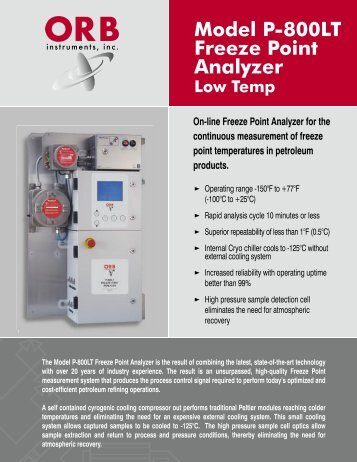 Model P-800LT Freeze Point Analyzer - OrbInstruments.com