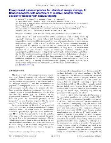 Epoxy-based nanocomposites for electrical energy storage. II ...